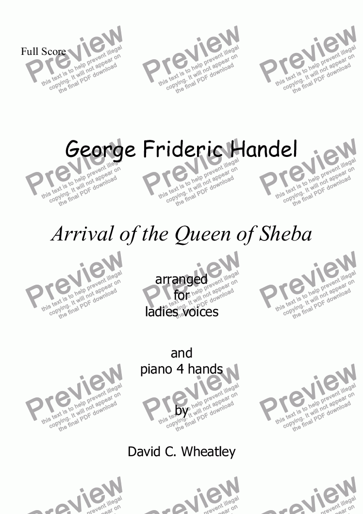 page one of Handel - Arrival of the queen of Sheba for womens voices (SSA + pno 4 hands) by David Wheatley