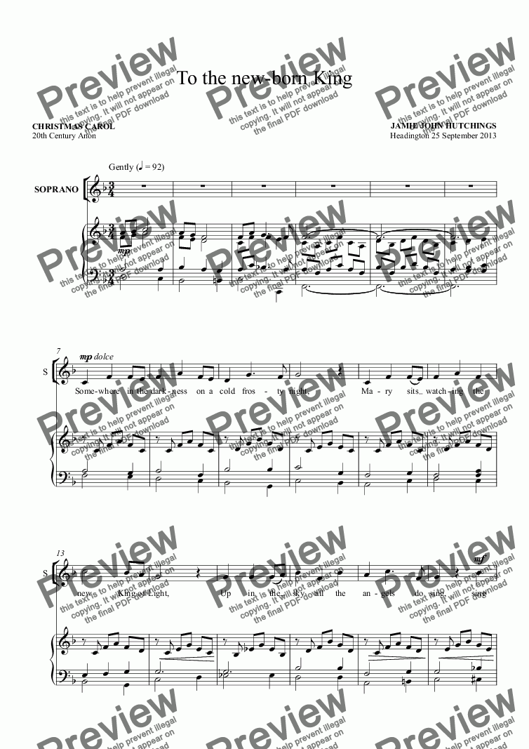 page one of Op.77 To the new-born King (Christmas Carol) [Upper Voices & Piano/Organ]
