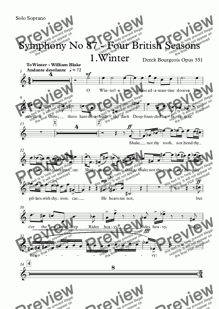 page one of Symphony No 87 - Four British Seasons 1.Winter
