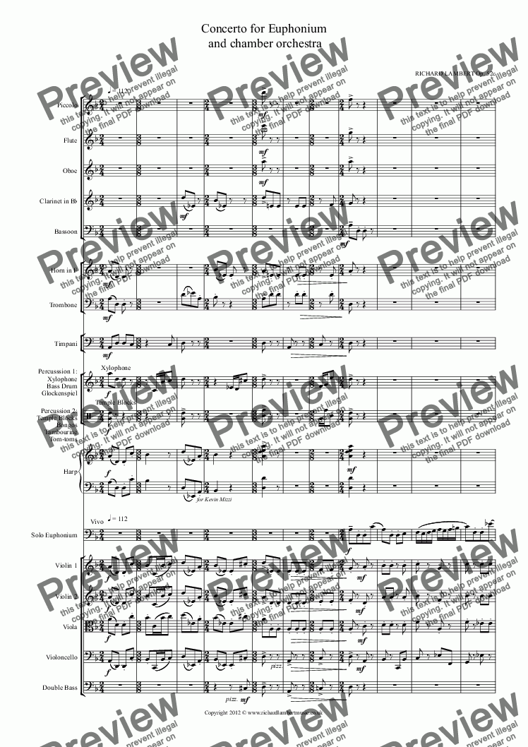 page one of Concerto for Euphonium  and chamber orchestraASALTTEXT