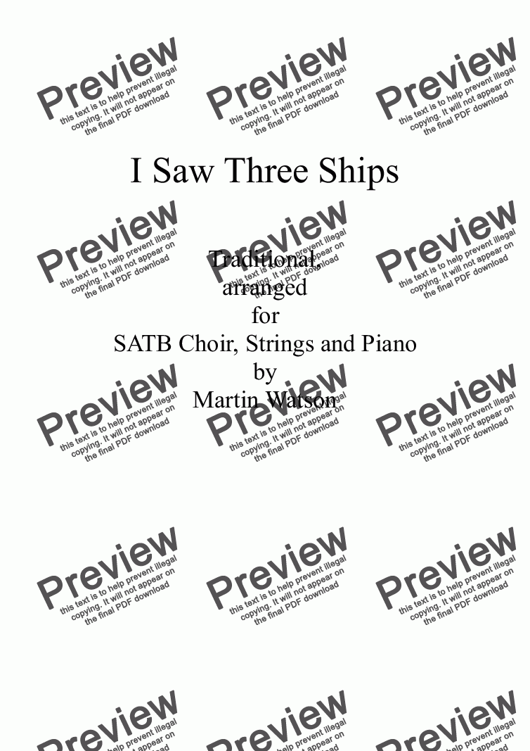 page one of I Saw Three Ships for SATB, Piano and Strings.