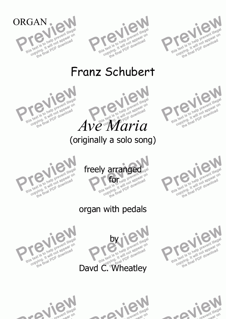 page one of Schubert - Ave Maria for organ solo