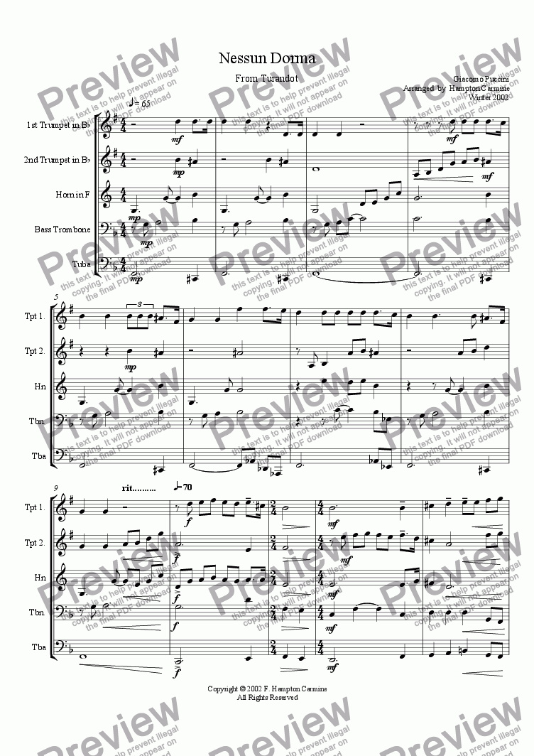 page one of Nessun Dorma