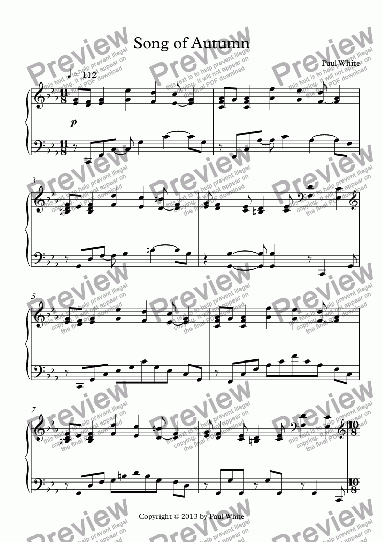 page one of Song of Autumn