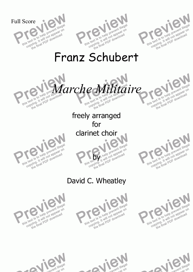 page one of Schubert - Marche Militaire for clarinet choir