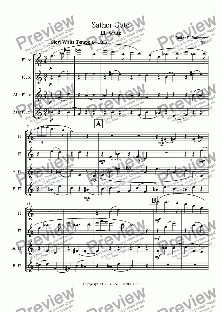 page one of Sather Gate III (flutes)
