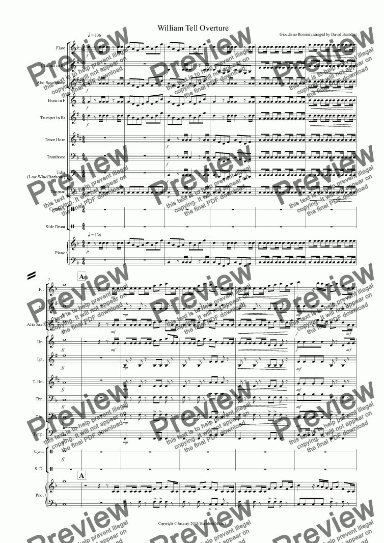 William Tell Overture for School Concert Band for School band by Gioachino  Rossini arranged by David Burndrett - Sheet Music PDF file to download