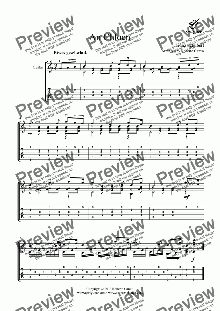 page one of An Chloen for solo guitar
