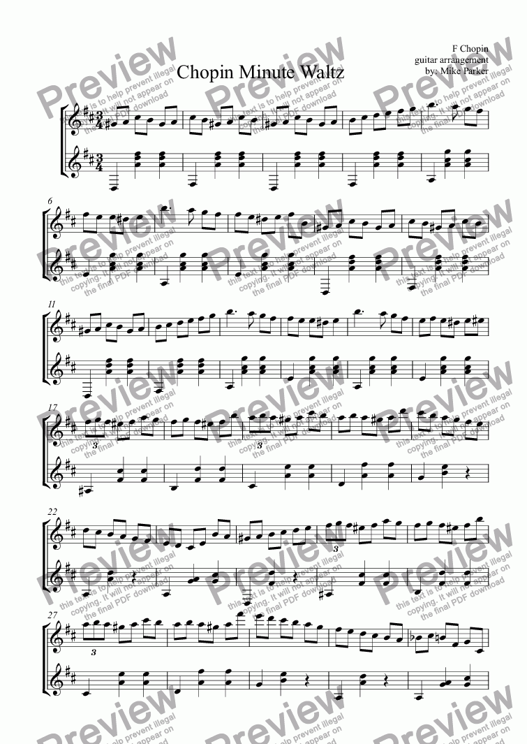 page one of Chopin Minute Waltz