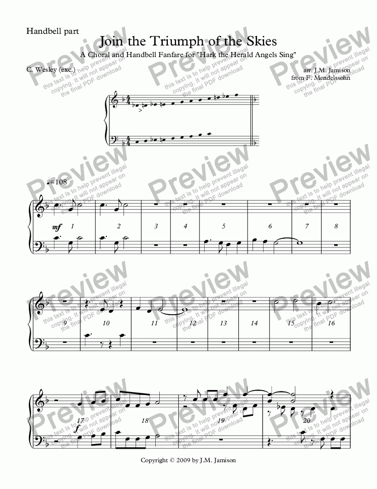 "page one of Join the Triumph of the Skies (A Choral and Handbell Fanfare for ""Hark! The Herald Angels Sing"") (handbell part)"