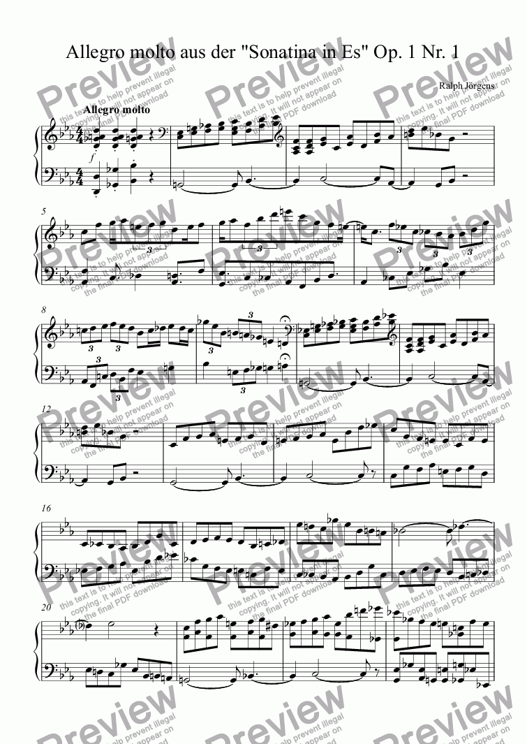 "page one of Allegro molto aus der ""Sonatina in Es"" Op. 1 Nr. 1"