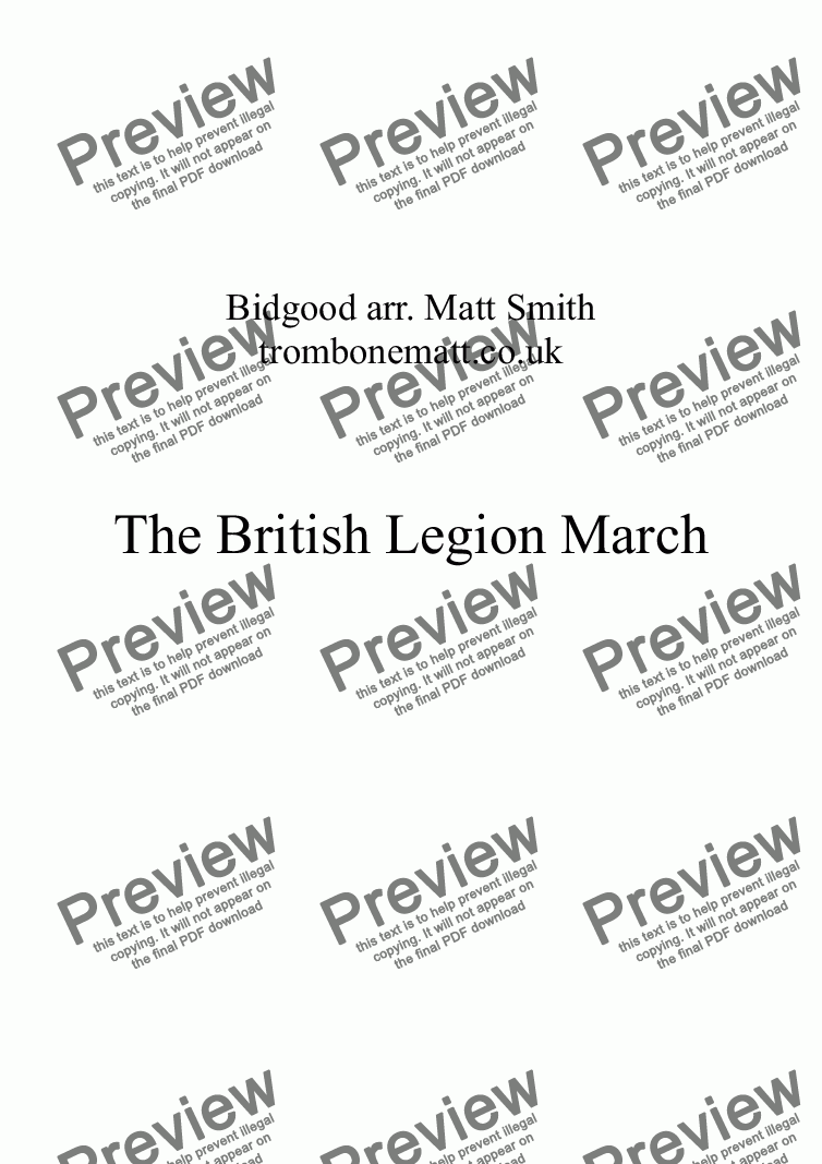 page one of The British Legion March (Brass Quintet)