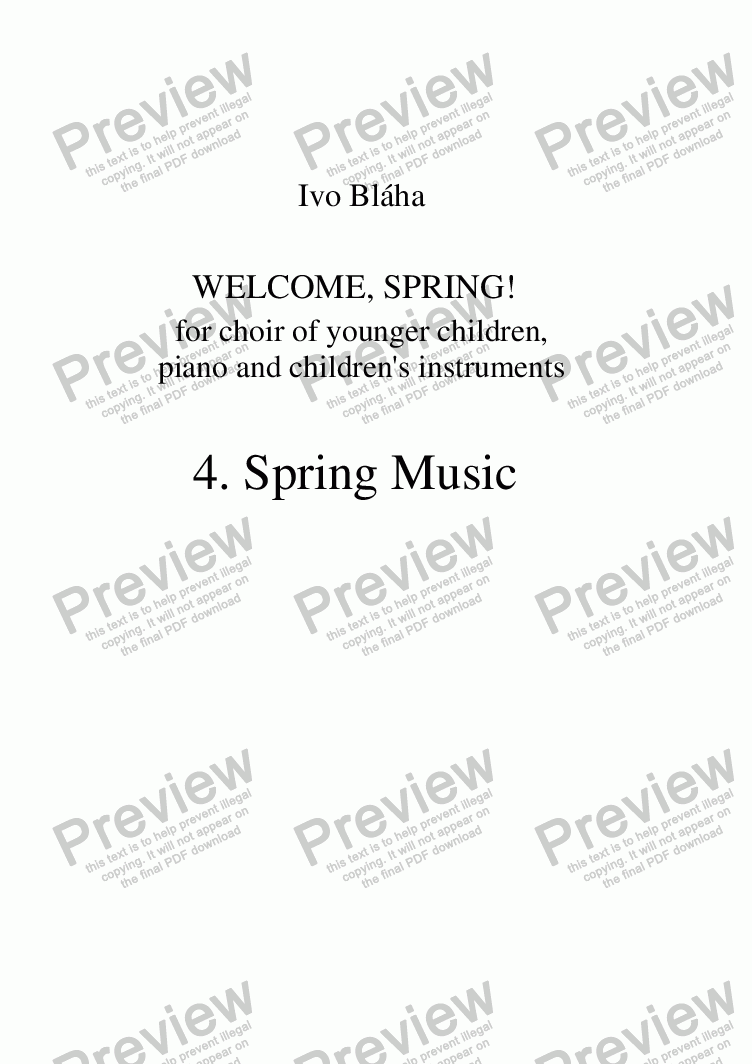 page one of SPRING MUSIC for choir of younger children and children's instruments (English words)