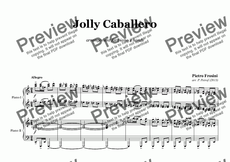 page one of P. Frosini - Jolly Caballero - piano 4 hands