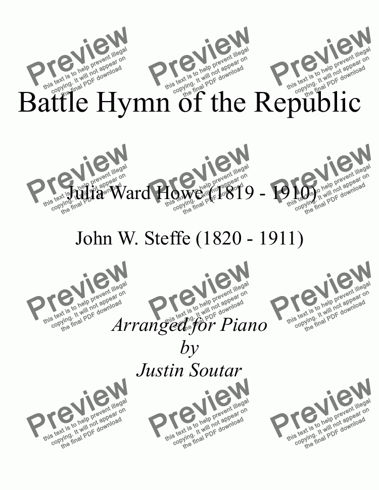 page one of Battle Hymn of the Republic
