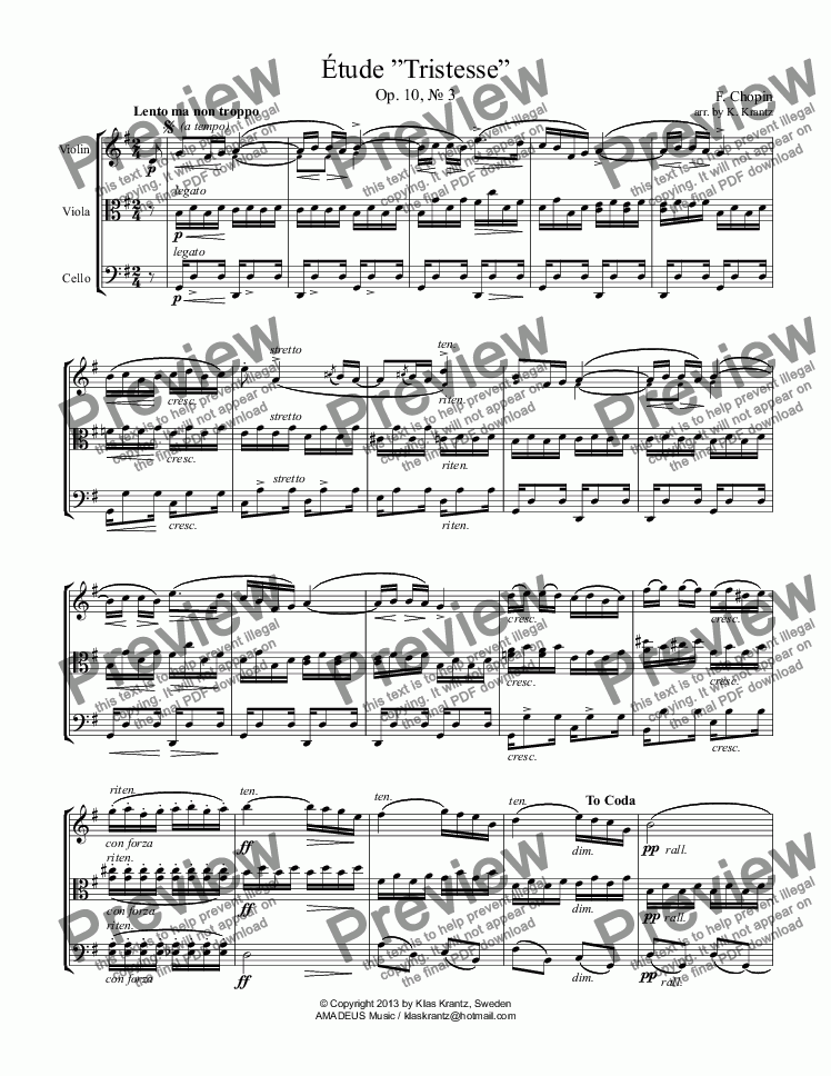 page one of Étude (Study) Tristesse Op. 10 for string trio