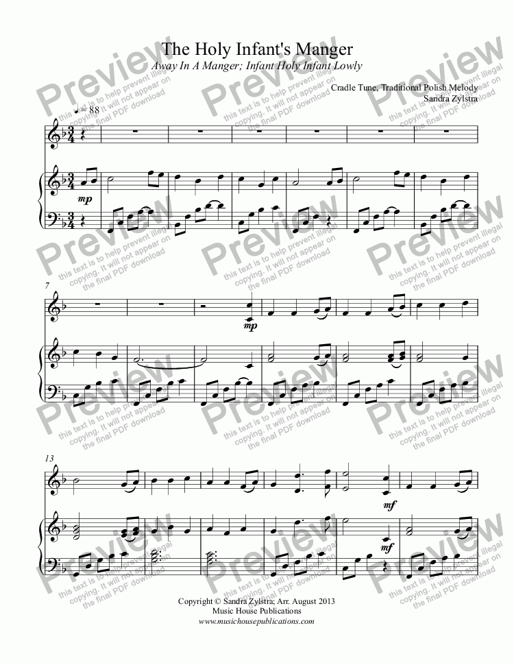 page one of The Holy Infant's Manger (solo instrument, piano)