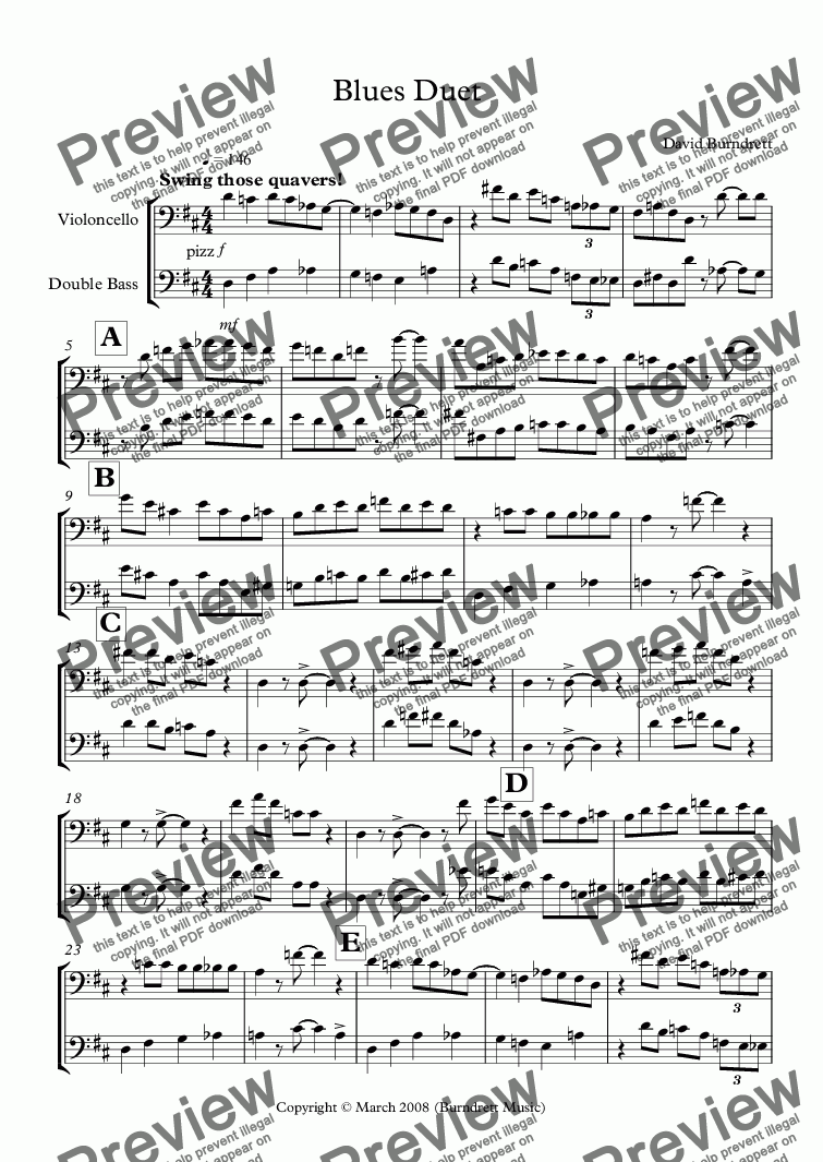 page one of Blues Duet for Cello and Double Bass