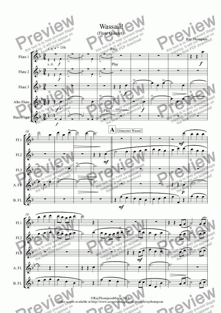 page one of Wassail! (Flute Quintet)(includes :Gloucester Wassail, Somerset Wassail and The Wassail Song.)ASALTTEXT