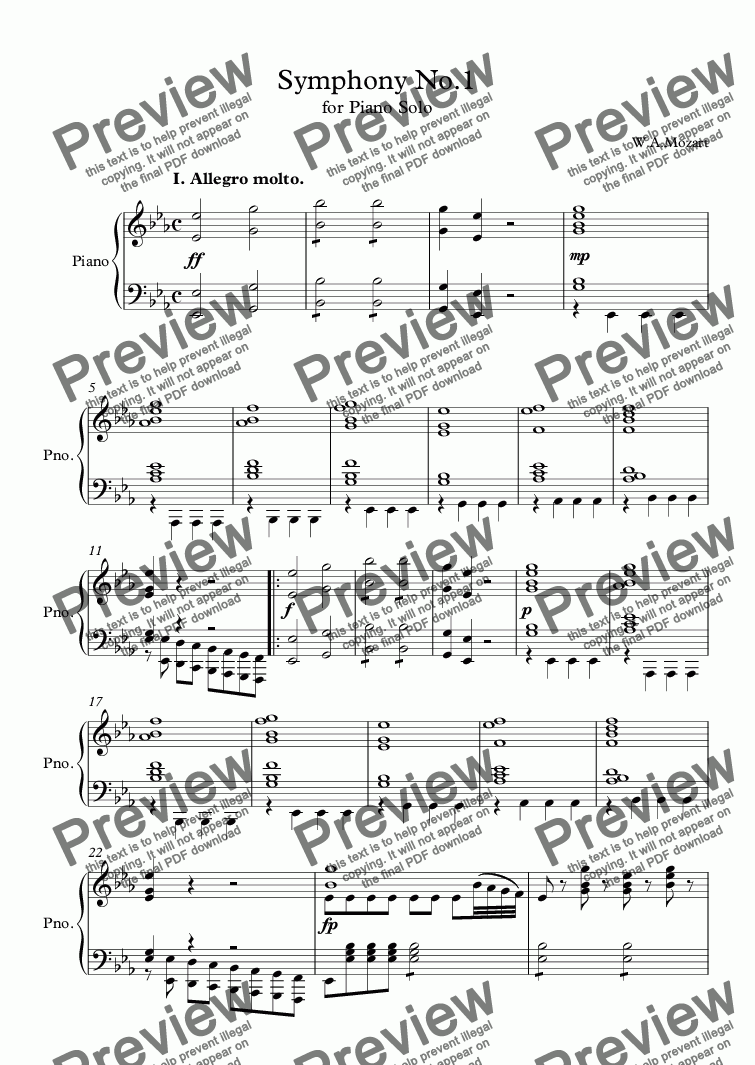 Mozart Symphony No 1 for Piano Solo for Solo instrument (Piano) by  W A Mozart - Sheet Music PDF file to download