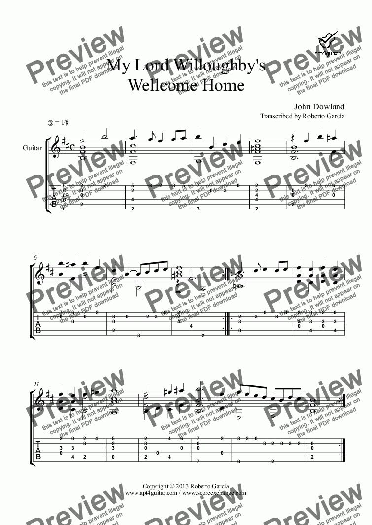 page one of My Lord Willoughby's Wellcome Home for solo guitarASALTTEXT