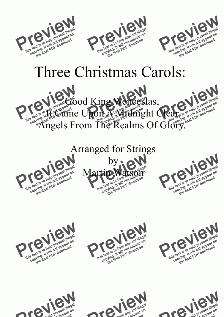 page one of Three Christmas Carols for String Orchestra/Quartet.