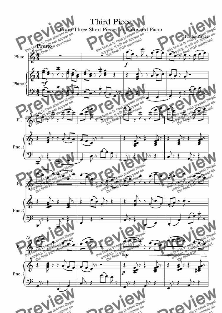 page one of Third Piece - Flute solo
