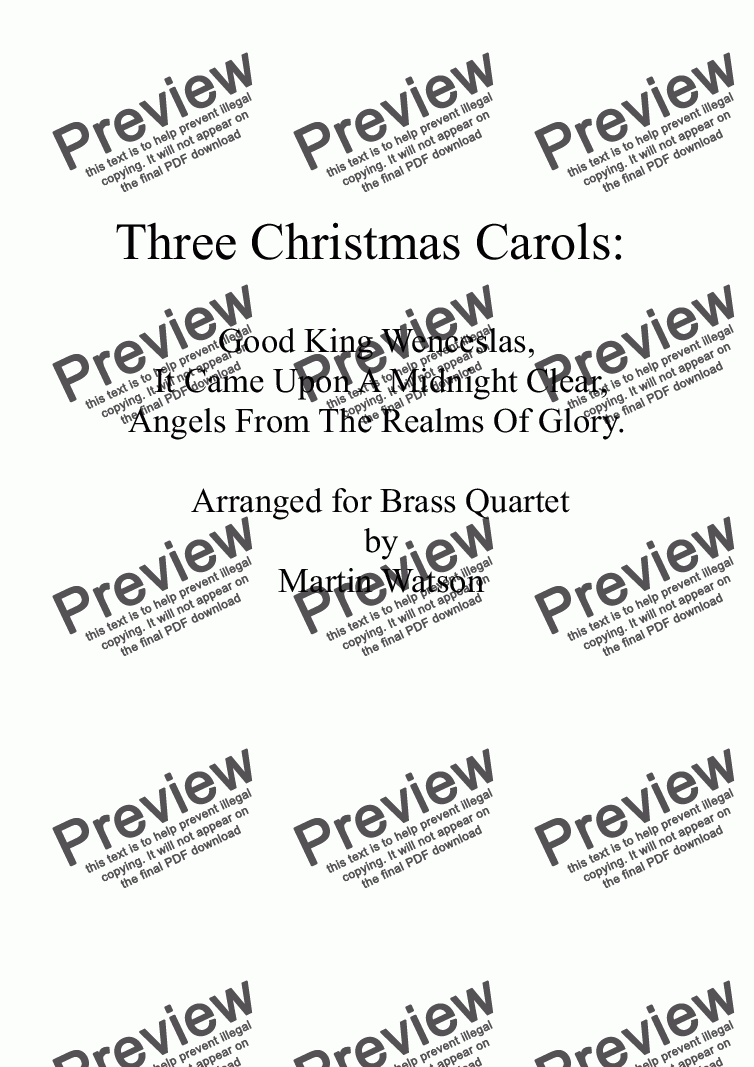 page one of Three Christmas Carols for Brass Quartet