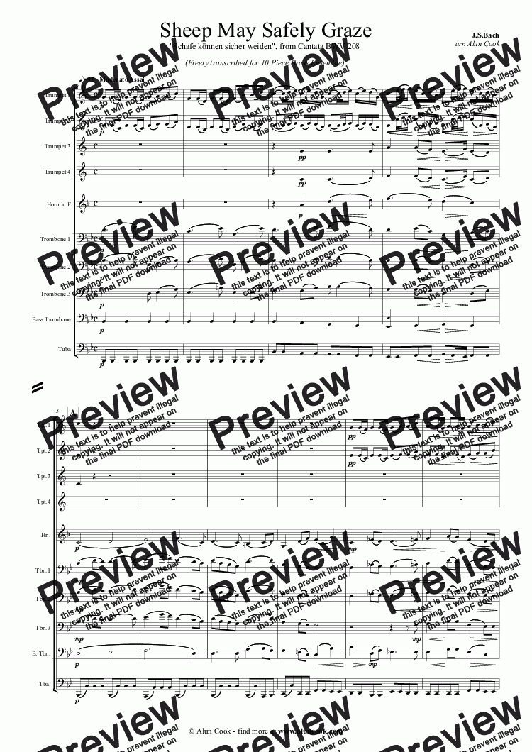 page one of Sheep May Safely Graze (10 Piece Brass Ensemble)