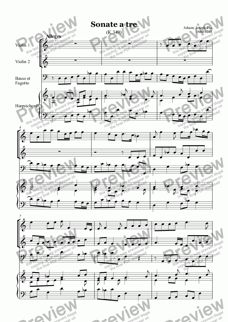 page one of Sonate a tre (Fux) 2vio,fag,BC
