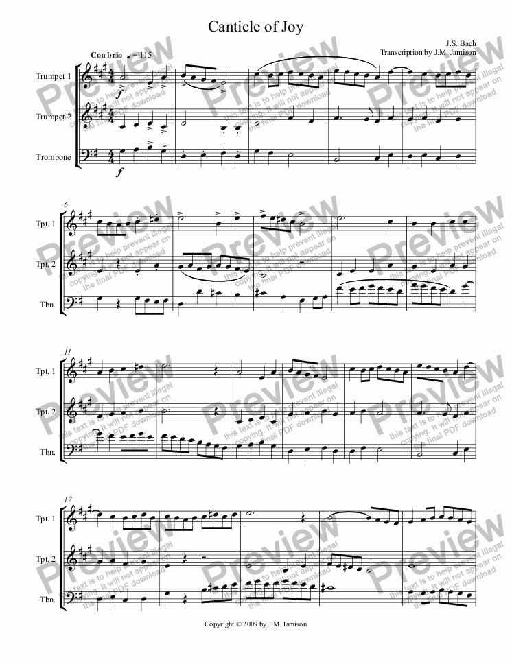page one of Canticle of Joy (trio)