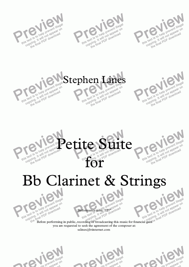 page one of Petite Suite for Bb Clarinet & PianoASALTTEXT