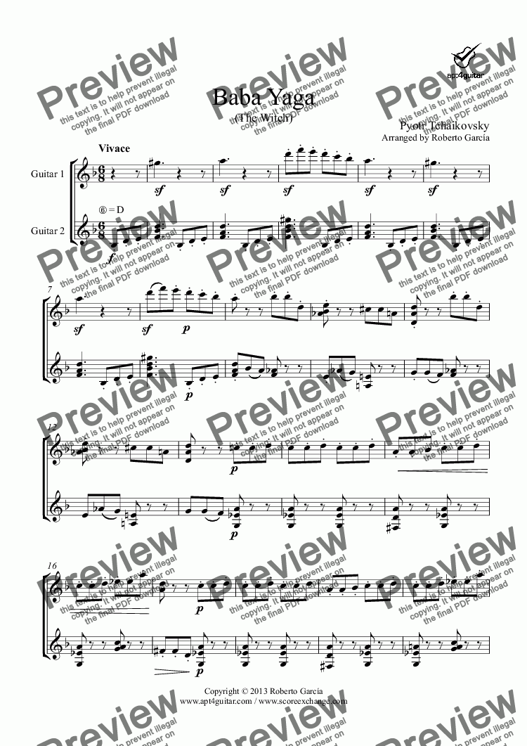 page one of Baba Yaga for guitar duet