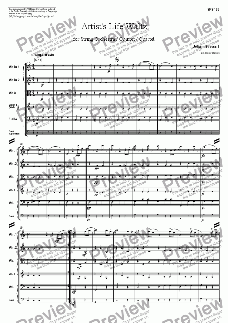page one of Artist's Life Waltz