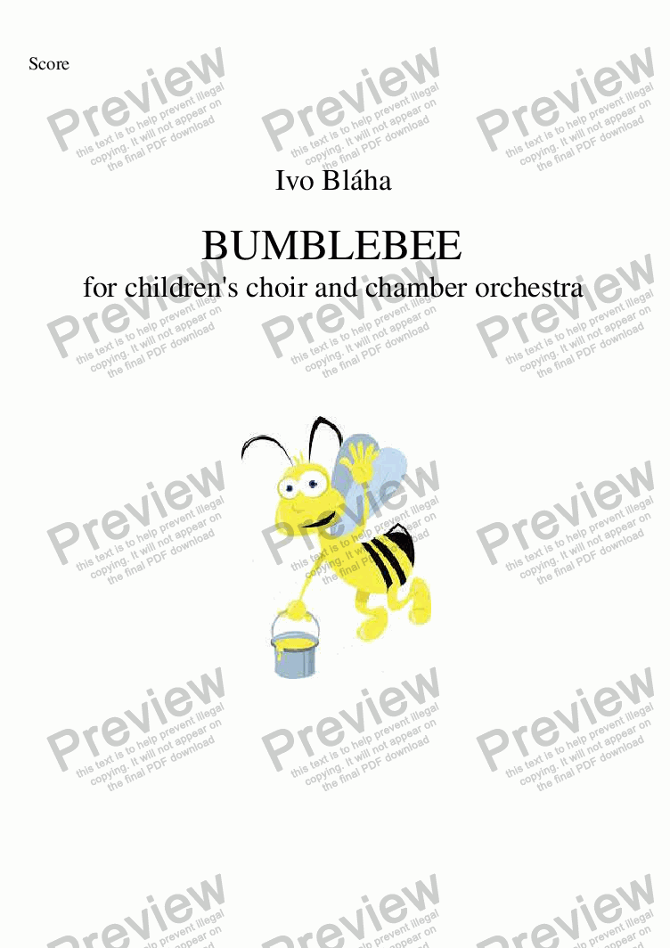 page one of BUMBLEBEE (Medák) for children's choir and orchestra (English words)