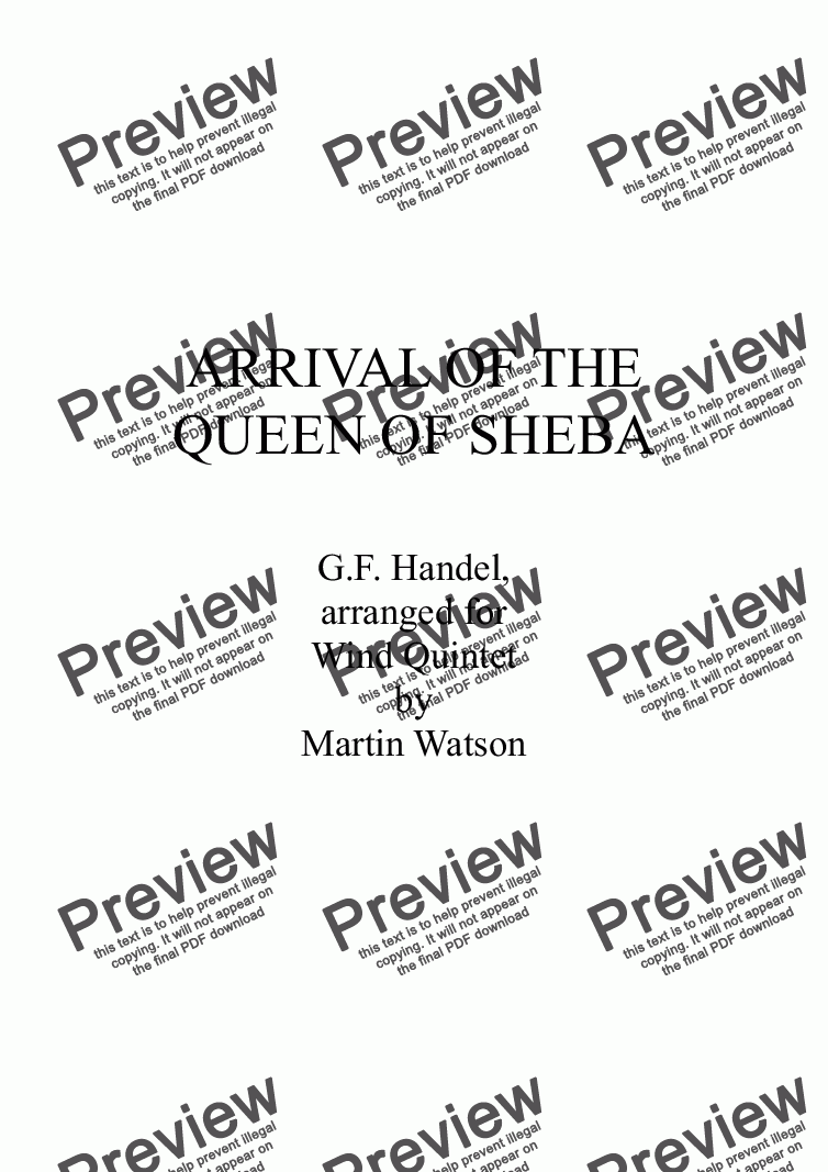 page one of Arrival of the Queen of Sheba for Wind Quintet