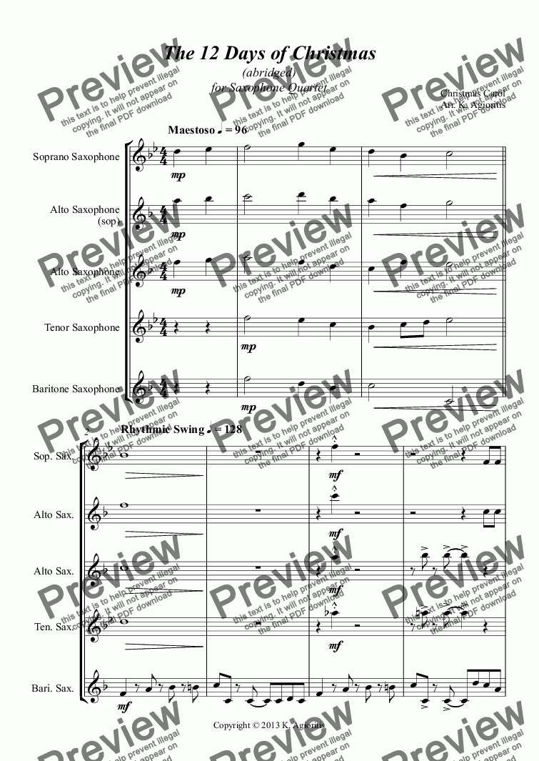 page one of The 12 Days of Christmas - for Saxophone Quartet
