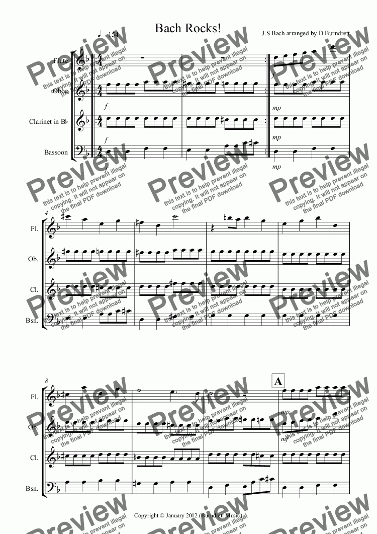 page one of Bach Rocks! for Wind QuartetASALTTEXT