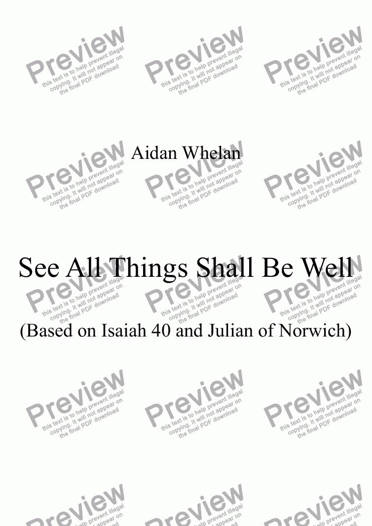 page one of See All Things Shall Be Well (Isaiah 40)