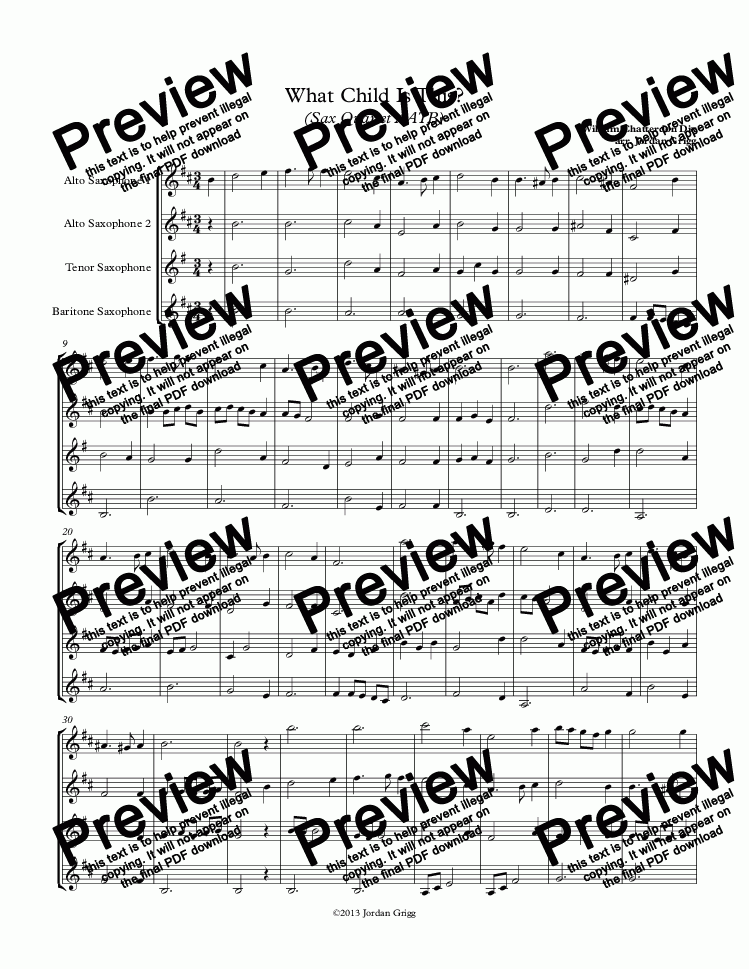 page one of What Child Is This? (Sax Quartet AATB)