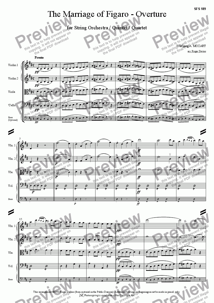 page one of The Marriage of Figaro - Overture