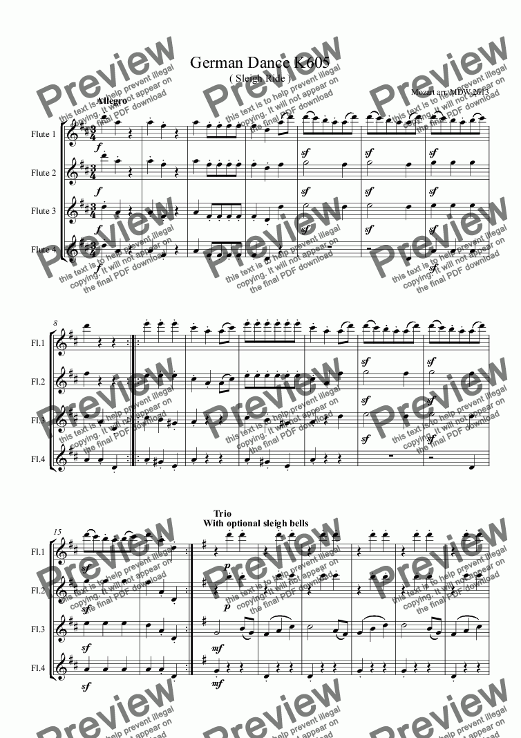 page one of Mozart Sleigh Ride