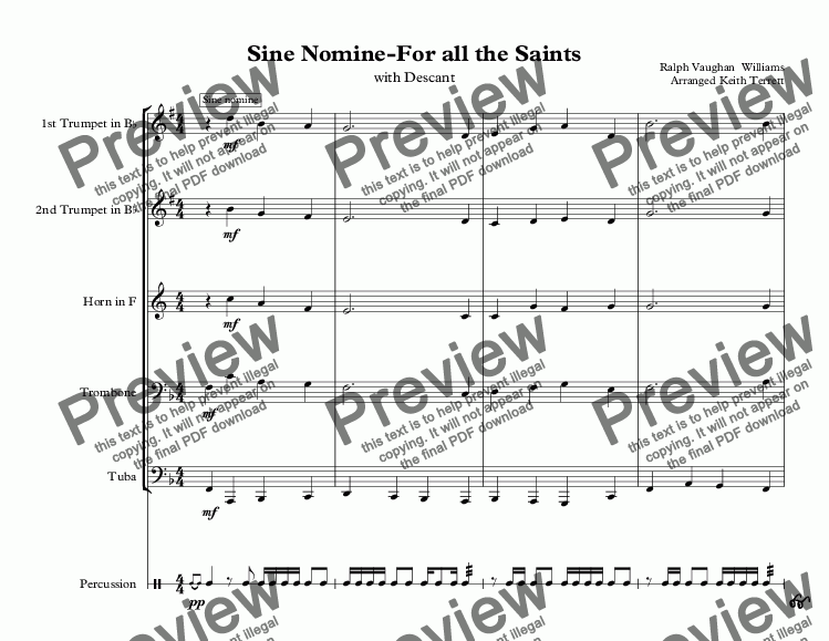 page one of For all the Saints (Sine Nomine) for Brass Quintet & PercussionASALTTEXT