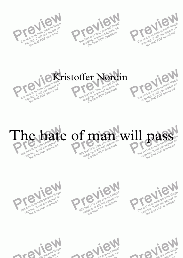 page one of The hate of man will pass
