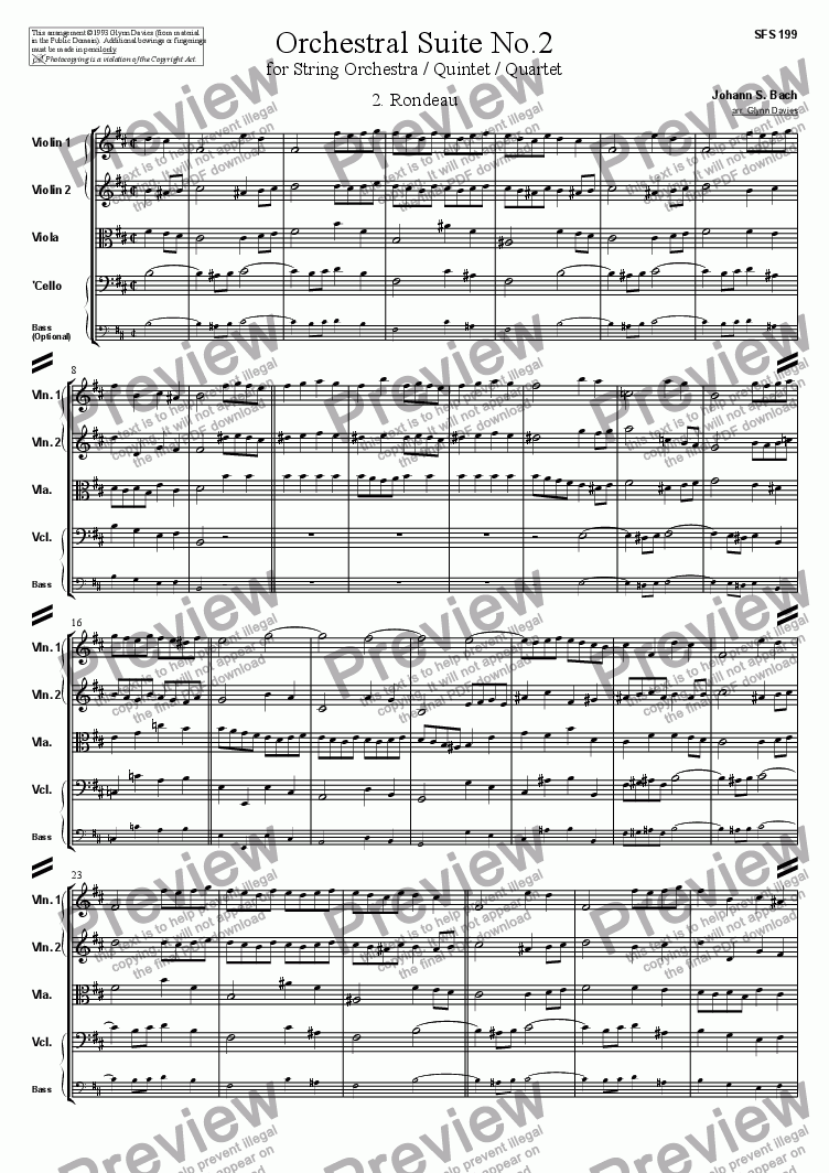 page one of Orchestral Suite No.2 - 2. Rondeau