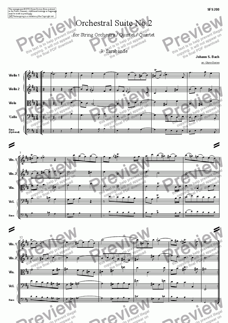 page one of Orchestral Suite No.2 - 3. Sarabande