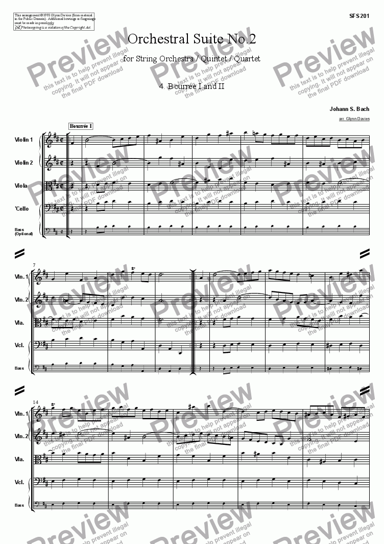 page one of Orchestral Suite No.2 - 4. Bourree I and IIASALTTEXT