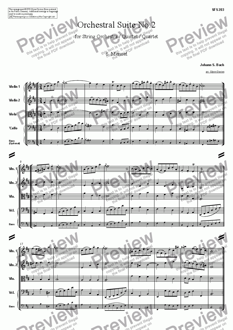 page one of Orchestral Suite No.2 - 6. Menuet