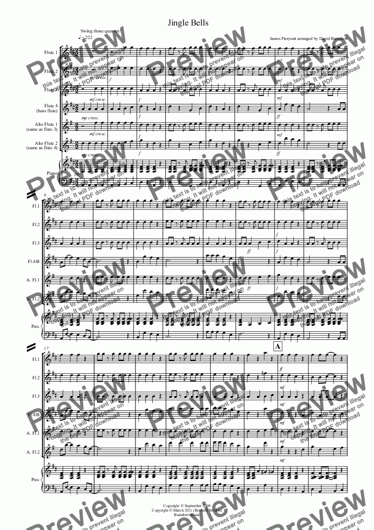 page one of Jingle Bells (Jazzy Style!) for Flute Quartet