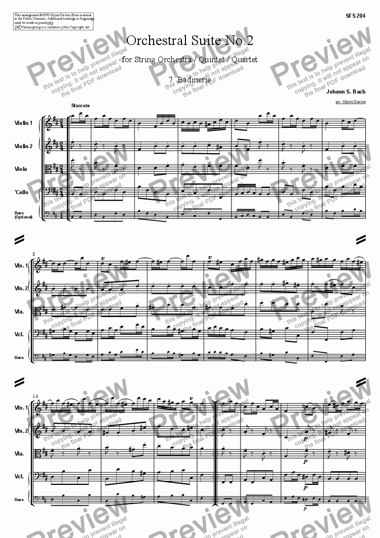 page one of Orchestral Suite No.2 - 7. BadinerieASALTTEXT